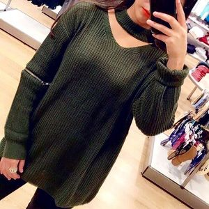 Green zipper sweater